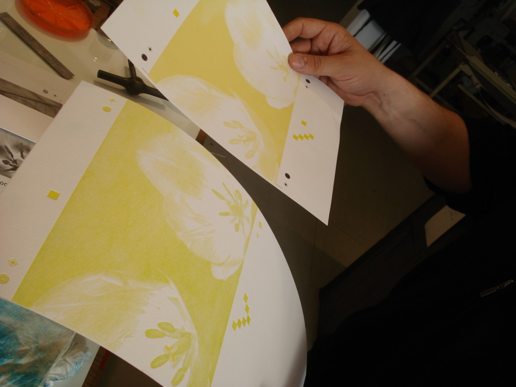 Patrick compares the Ink Jet print out to the pulled yellow proof