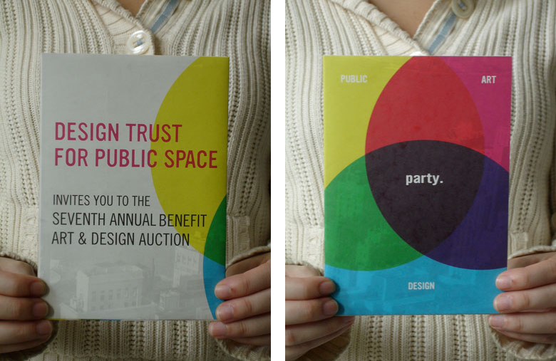 Design Trust for Public Space: 2008 Design Trust invitation poster front and back, folded